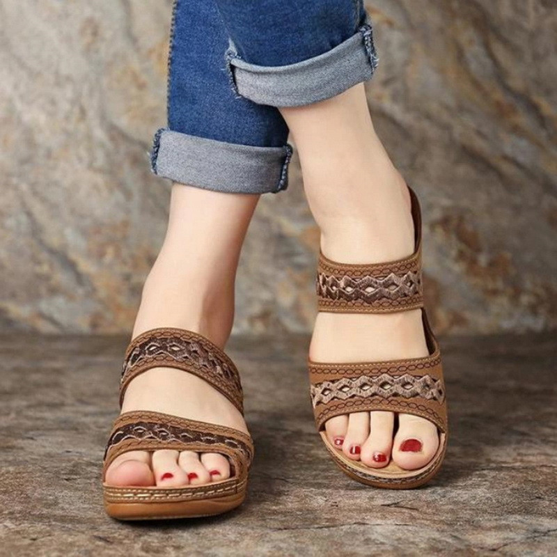 SHUJIN Women Wedge Sandals Gladiator Bohemia Shoes Flip Flop Casual Platform Wedge Slides Open Toe Vintage Anti-slip Beach Shoes