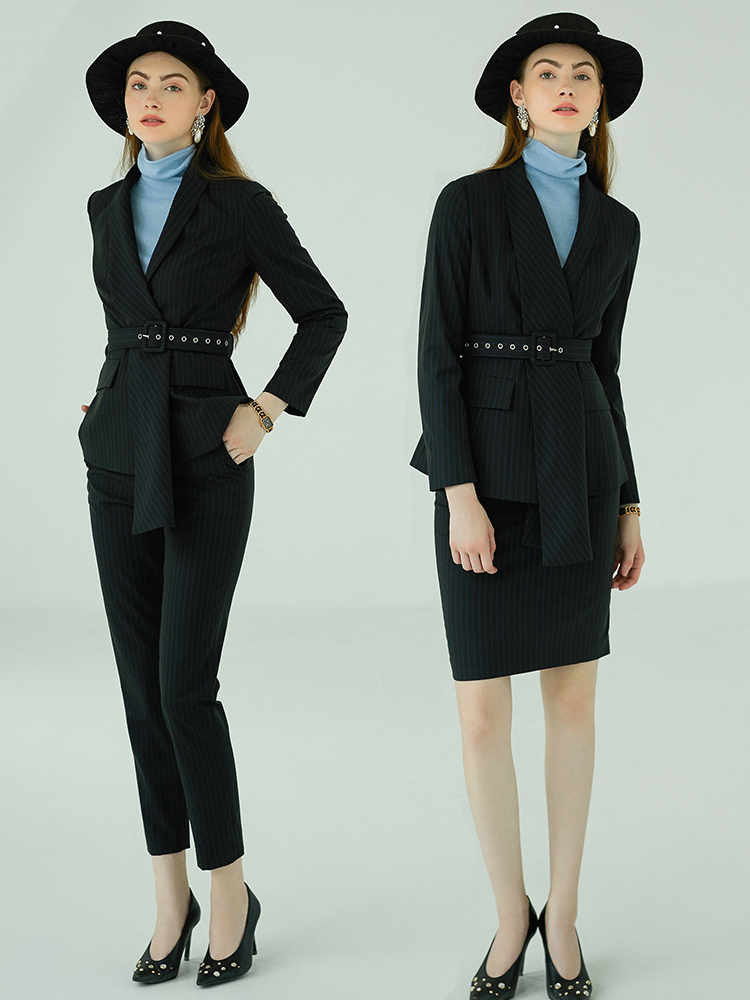 Women S Office Suits Set Professional Female Business Lady Suit Plus Size Black Striped Blazer Pant Tailor Made 2019 Free Ship