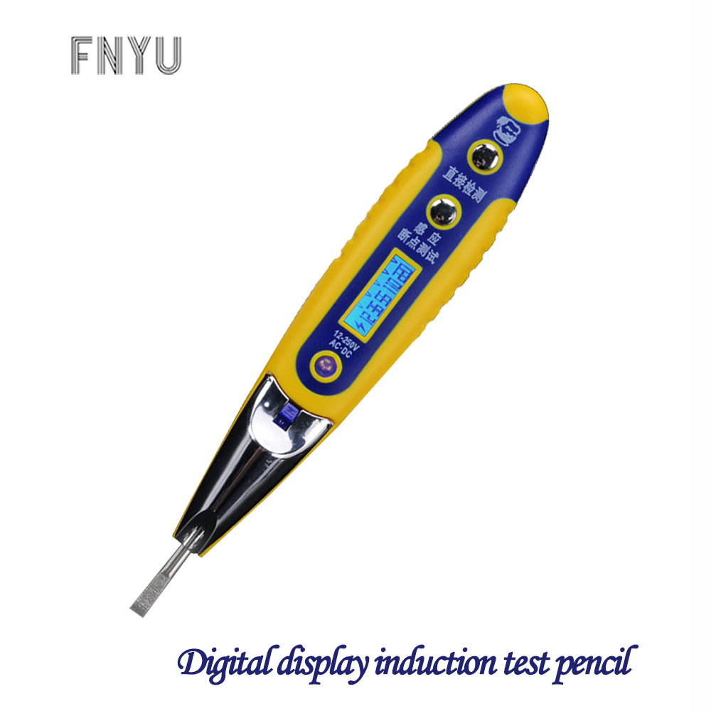 MECHANIC Digital Display LED Induction Test Pencil 12-250V AC DC Breakpoint Line Detection Electrician Household Electroscope