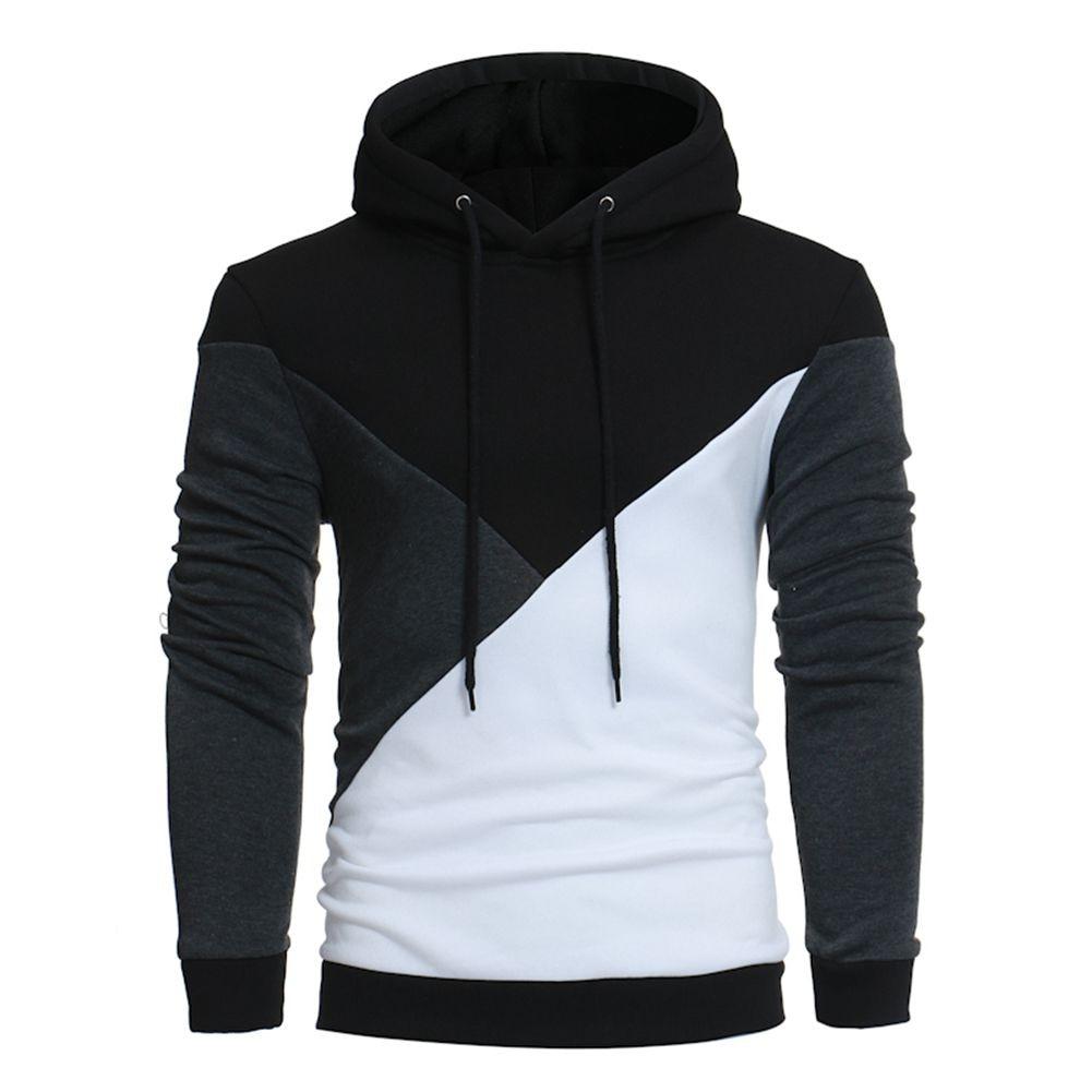 Men's blouse Hoodie Hooded Sweatshirt Man Tops Long Sleeve Patchwork men Jacket cotton pullover tee Coat Outwear fashion winter
