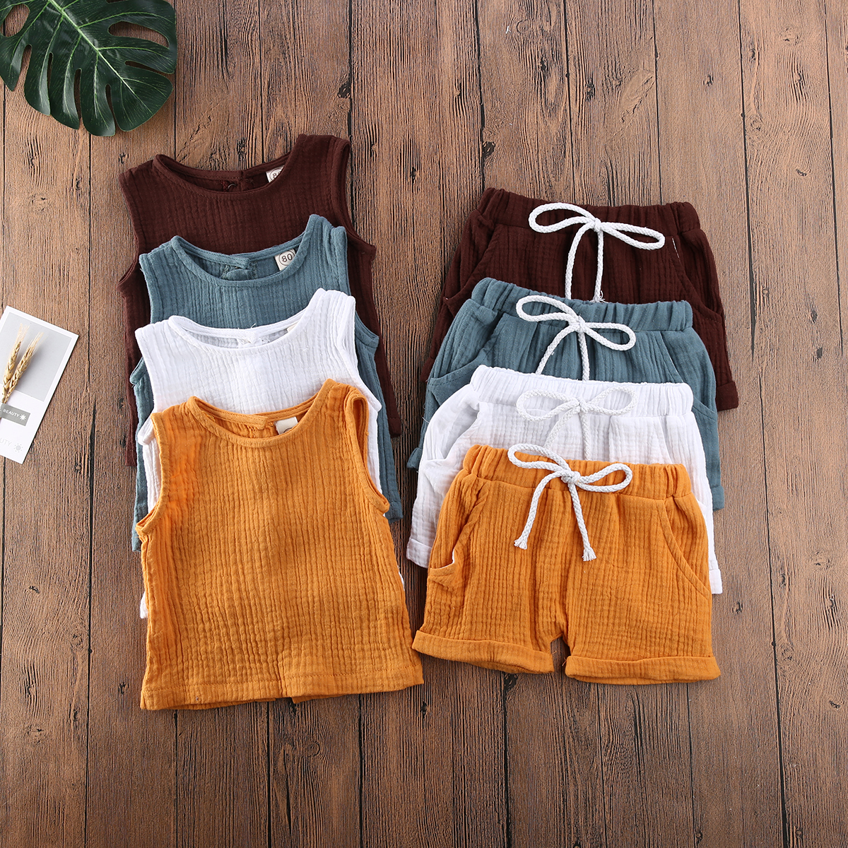 Kids Baby Clothing Suit Cotton&Linen Clothes Outfits Two Pieces Sleeveless Tops Short Pants Summer Outfit 5 COLOR