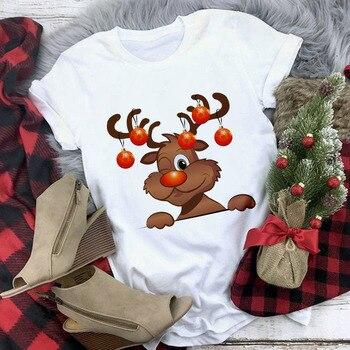 New Kawaii Reindeer T shirt Women Fashion Christmas Harajuku Short Sleeve T-shirt White Suitable All Seasons Tshirt Tops Clothes