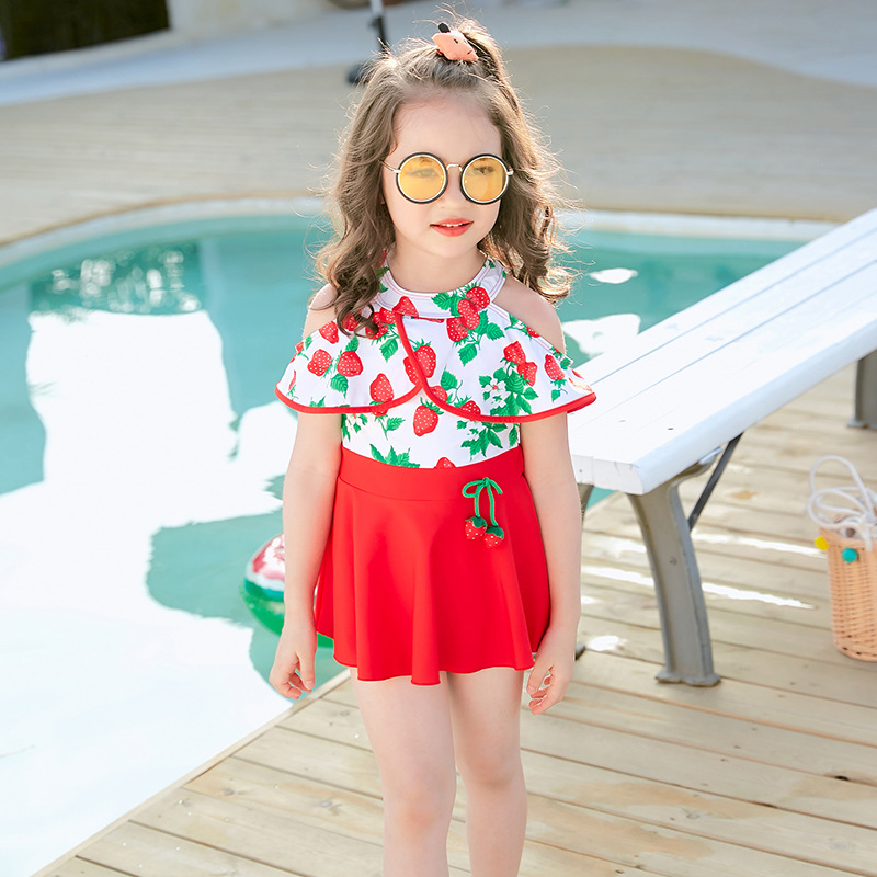 Strawberry Cute One-piece Swimsuit For Children Small CHILDREN'S Swimwear Girls High Waist Skirt-Small Qing Xin Wen Quan Swimwea