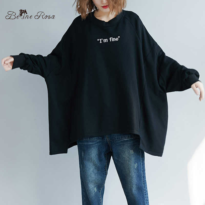 BelineRosa 3XL 4XL 5XL Plus Size Pullovers for Women Street Casual Black Color Loose Oversized Hoodies Autumn 2019 72B00034