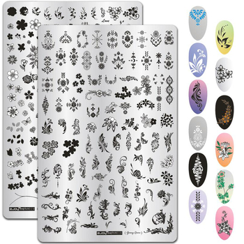 9.5*14.5CM Leaves Flowers Pattern Nail Stamping Plates Image Painting Nail Art Stencils Template Manicure Nail Stamp Tools 1