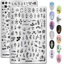 9.5*14.5cm folhas padrão de flores para unhas, placas de estampagem para pintura de imagem, estênceis de arte para manicure, ferramentas de carimbo de unha