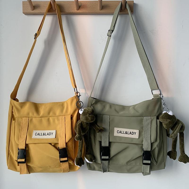 Canvas Women Messenger Bag Korean Large Shoulder Crossbody Bags for Women 2021 Student Nylon Cloth Book Bag Handbags Satchels