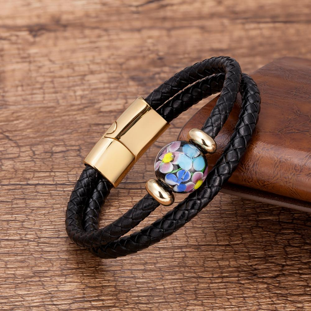 2020 New Design Round Coloured Glaze Beaded Bracelet 8 Style Charm Genuine Leather Bracelets Stainless Steel Magnet Mens Jewelry