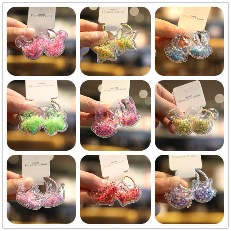 2PCS New Cute Quicksand Transparent Princess Headwear Kids Elastic Hair Bands Children Ropes Girls Accessories Baby Headdress