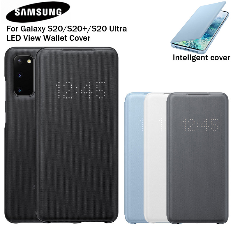Samsung Original Led Leather Flip Cover Case Led View Cover Etui For Samsung Galaxy S20 S20 Plus S20ultra S20 Led Phone Cover Case Led Leather Caseflip Cover Aliexpress
