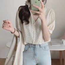 shintimes Polka Dot Chiffon Blouse V-Neck Woman Clothes 2020 Summer Tops Short S