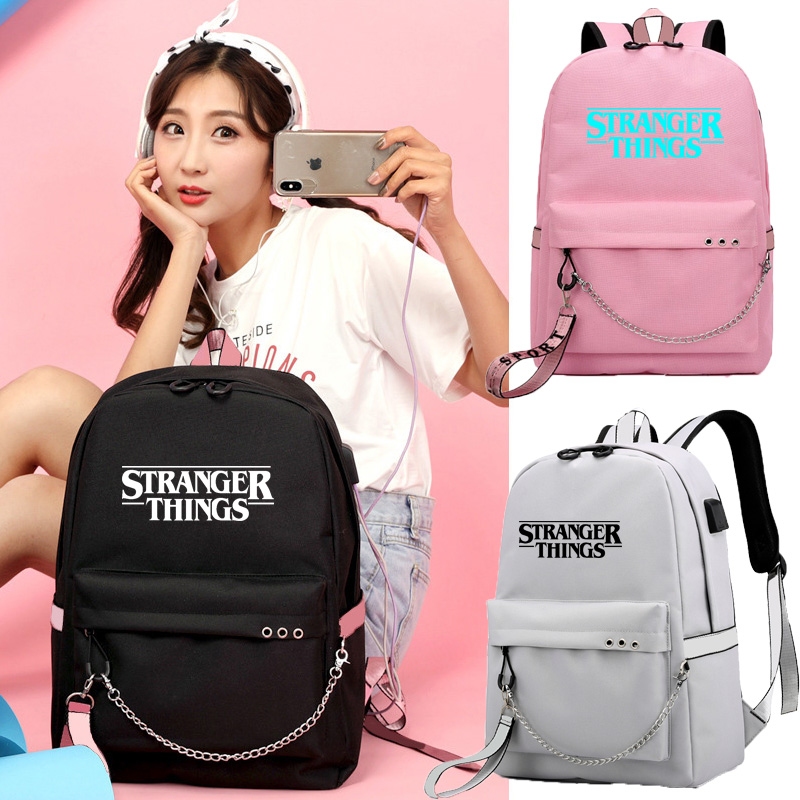 IMIDO Luminous Stranger Things Backpack For School Students Large Capacity Girls Travel Bags Usb Charging Shoulder Backpacks