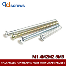 4.8 M1.4M2M2.5M3 Pan head screws with cross recess Phillips round screw galvanized GB818 DIN7985 ISO 7045