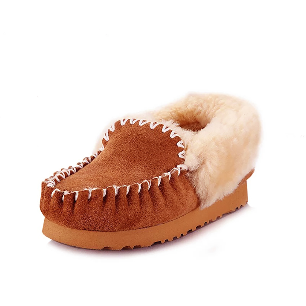 Kids Fur Lined Shoes Winter Casual Loafer Shoes Christmas Boys Moccasin Flats Children Soft Warm Furry Slip On Boat Shoes D30