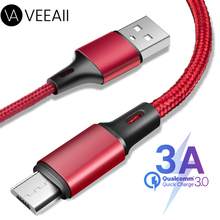 VEEAII 1M 2M 0.25M 3A Data Cable Charger Micro USB for Samsung S8 S9 S10 Xiaomi Android Charging Mobile Phone Cord
