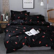 菌床リネン黒赤高級寝具は、ホームテキスタイルかわいいパターン布団カバーセットキルトカバーの女王キングサイズ