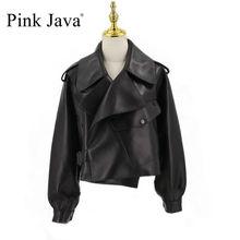 الوردي جافا QC20003 جديد وصول سترة جلدية حقيقية النساء معطف حقيقي معطف جلد الغنم الفاخرة موضة فستان hot البيع