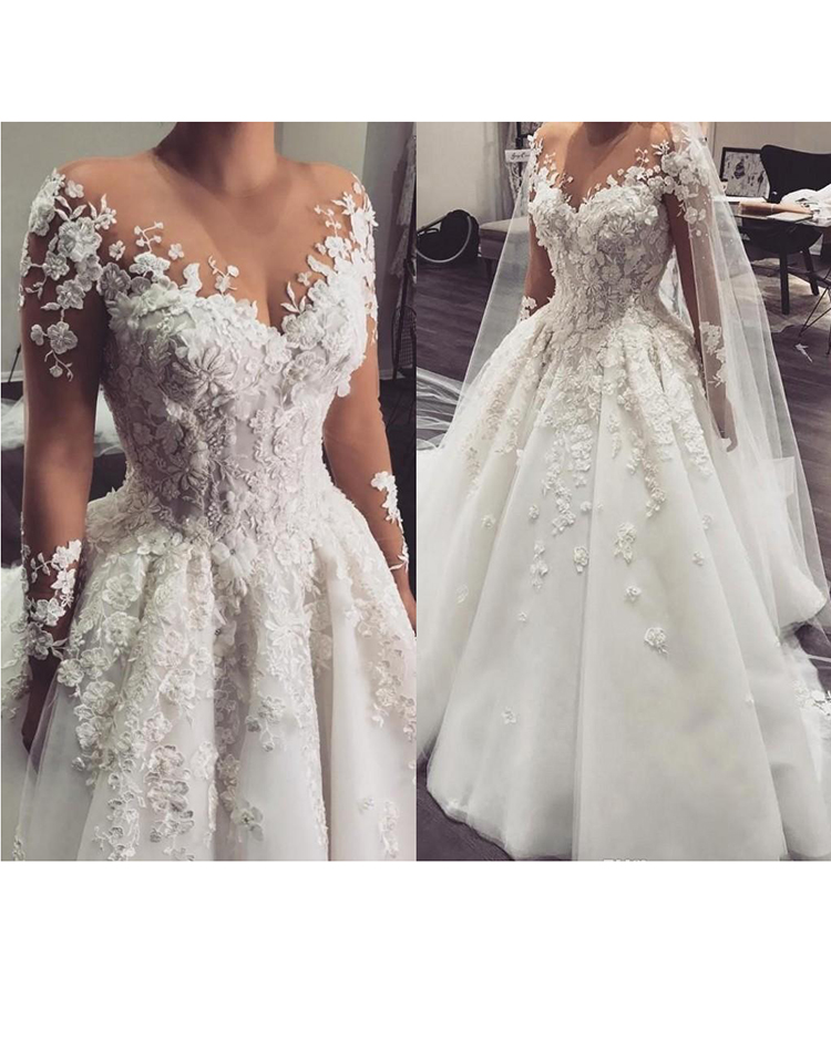 Luxury Arabic A Line Wedding Dress Princess Robe De Mariee 3d Flowers Beaded Appliques Wedding Gowns For Bride With Sleeves