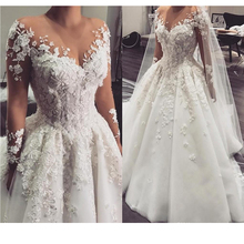 Wedding-Gowns Appliques Arabic Bride Princess Luxury Beaded Robe-De-Mariee Sleeves A-Line