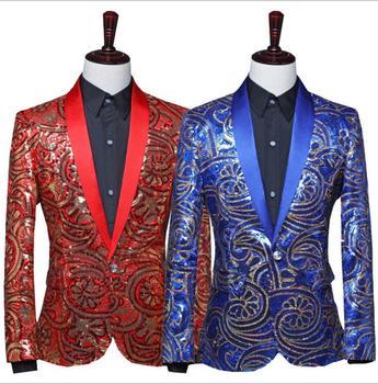 Blazer men suit fashion mens Fancy sequins suits costume singer stage Long sleeve clothing performance formal dress red blue
