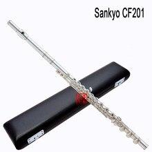 Sankyo cf201 alta qualidade nova flauta instrumento de música e-key prata c tune baixo b flauta tocando música nível profissional