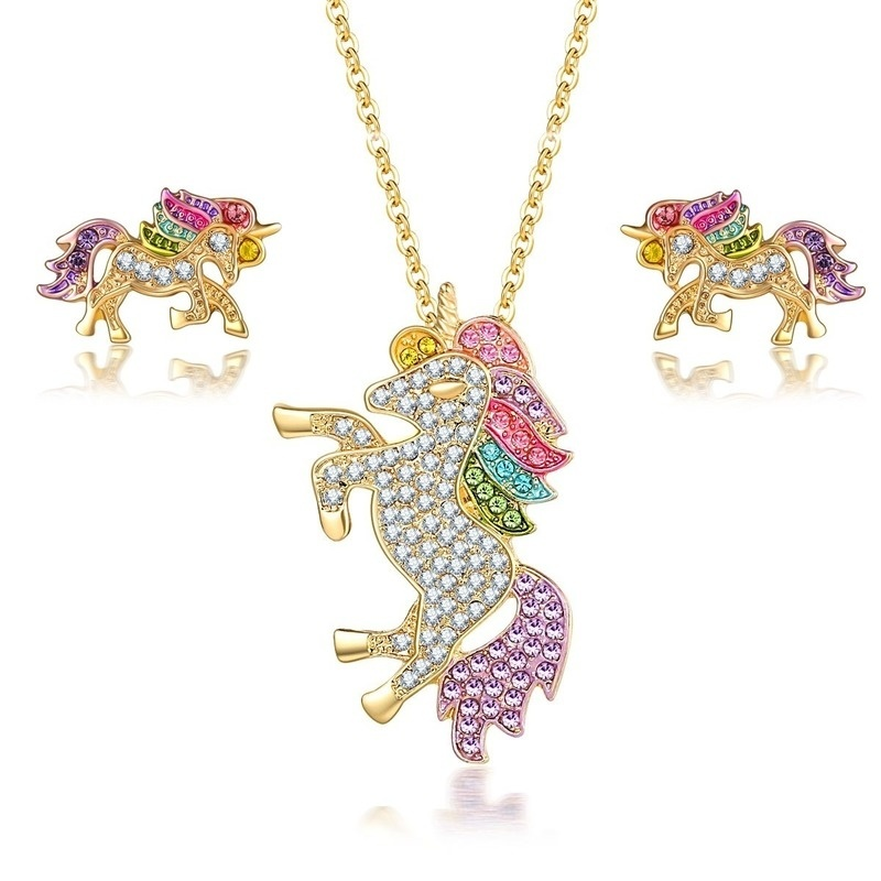 3 PCS//set Unicorn Jewelry Sets Kits for Girl Decorations Alloy Earrings Necklace