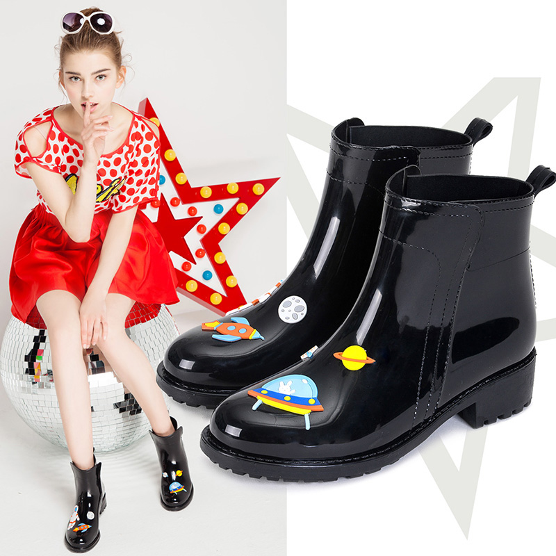 Image 4 - DRIPDROP Rain Boots for Women Waterproof Anti Slip Rainboots Girls Fashion Rubber Shoes Spaceship Cats  Appliques-in Ankle Boots from Shoes