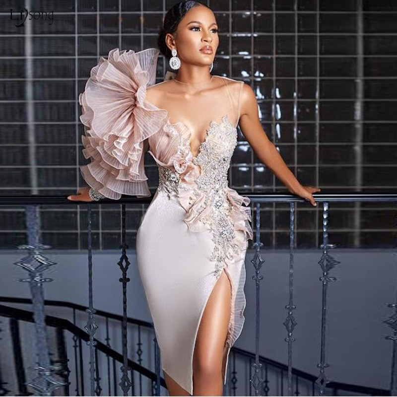 New Design   Evening     Dresses   Beads Pleat Ruffe On Shoulder robe de soiree Short Formal Gown Sheath   Evening     Dress   Custom Made
