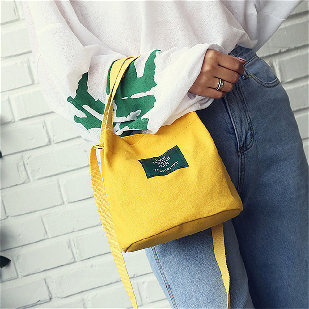 Portable Small Lunch Bag For Women Men Lunch Box Tote Bento Pouch Food Container School Food Storage Bags Black ShoulderBag