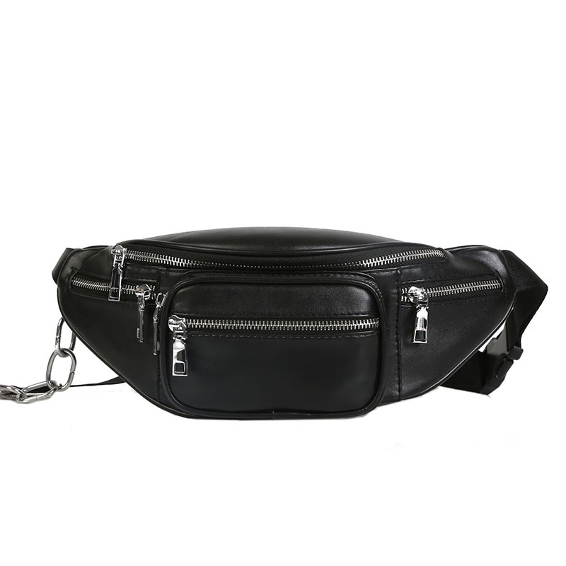 Women Pauch PU Leather Fanny Pack Chest Bag Men Stylish Banana Bag Black Belt Bag Multifunction Kidney Shoulder Messenger Bags