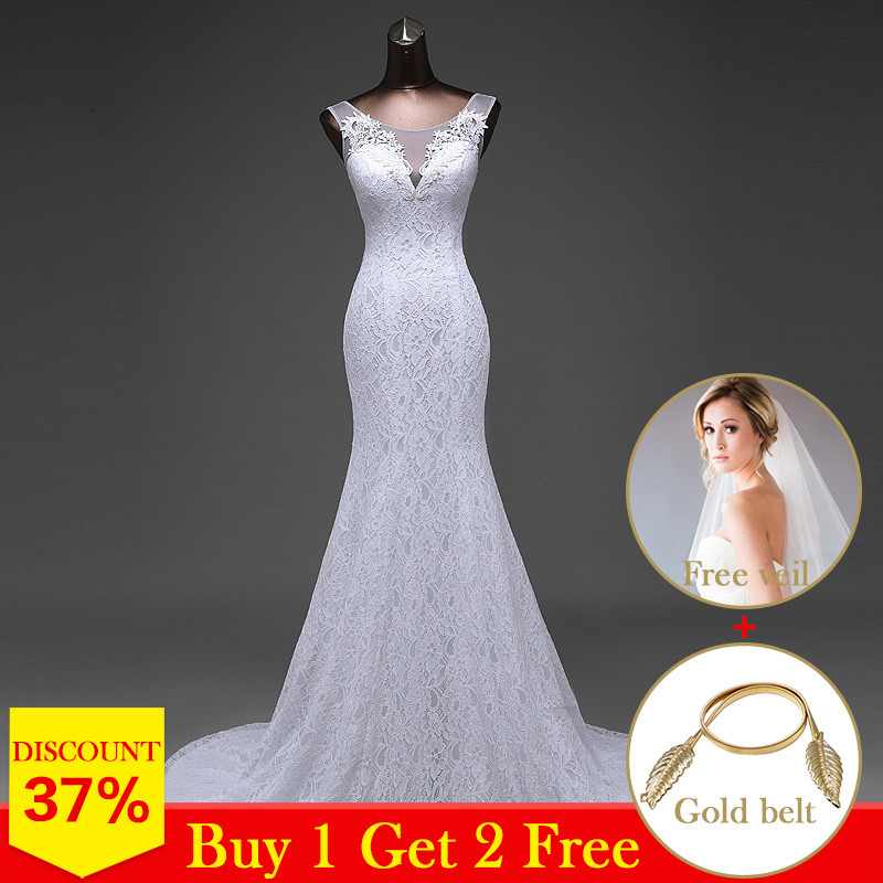 High Quality Elegant Beautiful Lace Flowers Mermaid Wedding Dresses Vestidos De Noiva Robe De Mariage Bridal Dresses