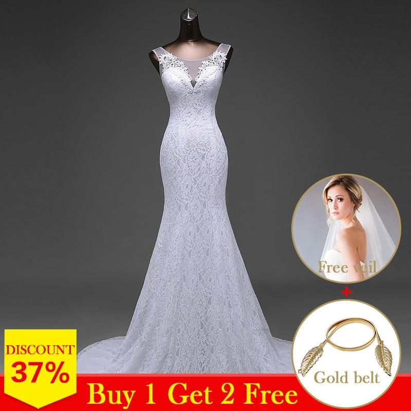 High Quality Elegant Beautiful Lace Flowers Mermaid Wedding Dresses Vestidos De Noiva Robe De Mariage Bridal Dresses
