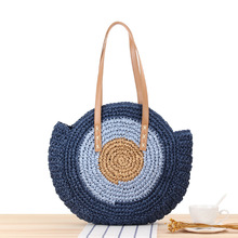 2020 New Simple Round Shoulder Bag Straw Woven Beach Fashionable Womens
