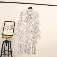 Plus Size Women Chiffon Dress Flowers Printed Long Mouwen Party Work Dresses
