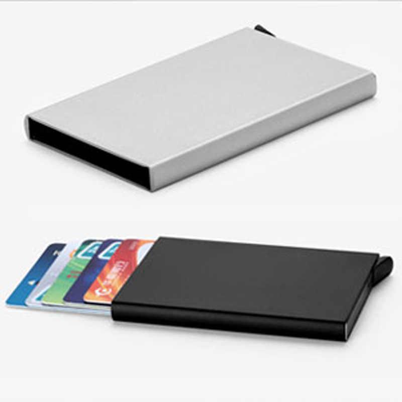 أسود التلقائي المنبثقة سبائك الألومنيوم علبة كرتون حامل بطاقة الأعمال الرجال المعادن الائتمان جواز حافظة للبطاقات بطاقة الهوية محفظة بشريحة Rfid