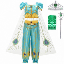 Girls Jasmine Princess Clothes Kids Cosplay Aladdin's Lamp Fancy Costume Children's Halloween Carnival Birthday Party Gift women girls superhero alien starfire teen titans go outfit cosplay halloween costume princess koriand r suit xmas birthday gift