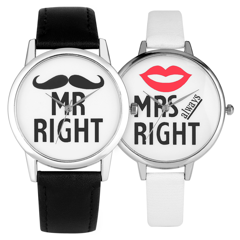 Couple Lover Watch Mr/Mrs Right Quartz Analog Wristwatches Leather Band Men Women Watches Gift For Boyfriend Girlfriend Relojes