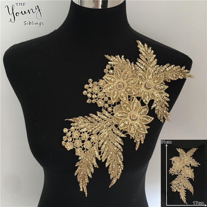 New Arrive Hollow Out Embroidery Applique Sequin 3D Flower Sewing Lace Neckline DIY Craft Rhinestone Lace Collar Dress Accessory