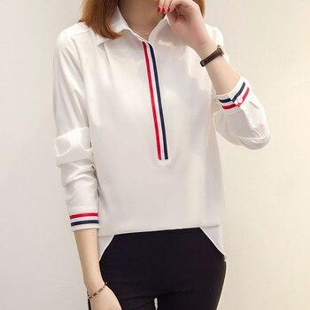 shintimes Long Sleeve White Blouse Striped Spliced Shirt Women Clothes 2020 Chiffon Korean Style Ladies Tops Woman Femme Shirts