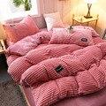 Зимний теплый пододеяльник, розовое, серое, Коралловое флисовое односпальное, Двухспальное, двуспальное покрывало для кровати, пододеяльни...