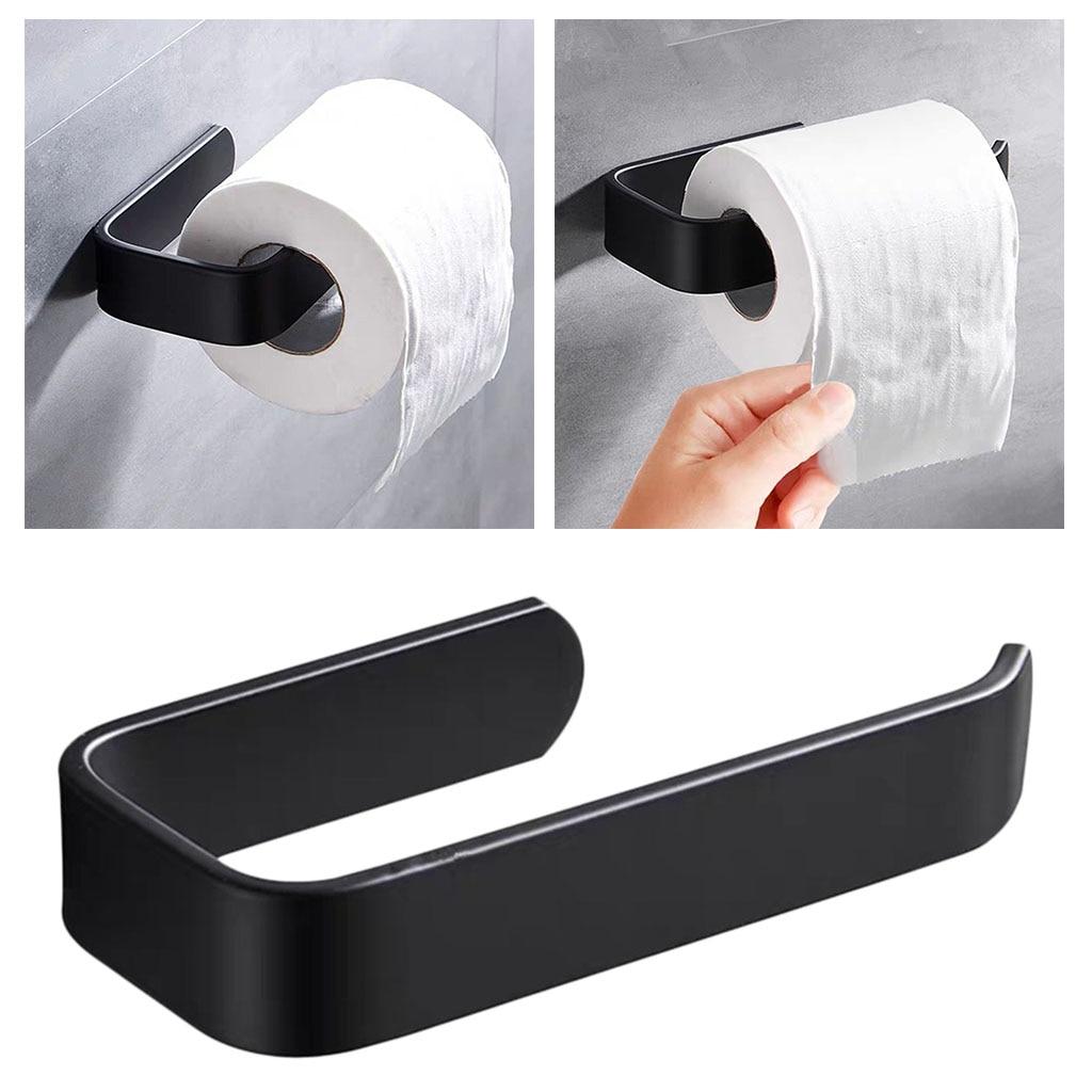 Acrylic Toilet Paper Holder Tissue Rack Wall Mounted Bathroom Kitchen Roll Holder Paper Tissue Rack Hook Modern Black Hanger 1