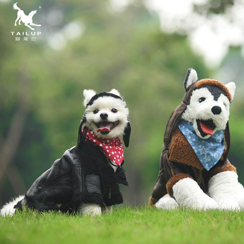 Tailing Up/tailup Punk Leather Coat Hoodie Dog Fall And Winter Clothes Legs Thick Cotton-padded Clothes Pet Supplies