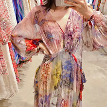 New 2021 Famous Deep V Neck Floral summer Dress Drawstring Perspective silk chiffon Dresses Plus Size