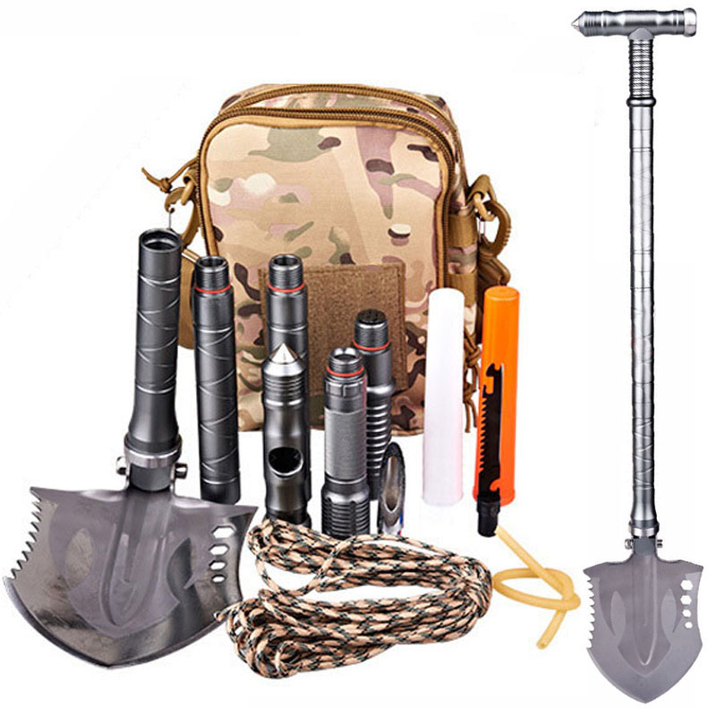 7DAI Multi-purpose Outdoor Military Tactical Camping Shovel Tools Multitool Folding Shovel Fishing Emergency