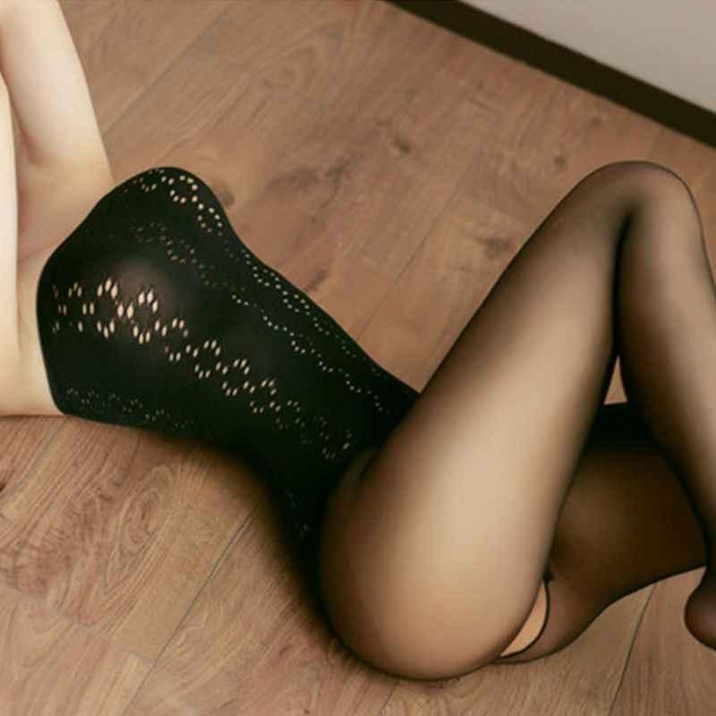 Vrouwen Sexy Perspectief Bodystockings Hollow Out Bloemen Netto Bodysuit Erotische Open Kruis Strapless Panty Panty