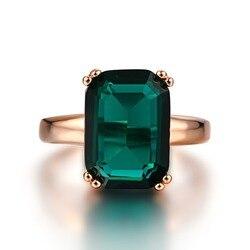 Bague en émeraude naturelle en Zircon, anneaux de mariage de fiançailles, bague en pierre précieuse verte 14K, or Rose fin, pour femmes