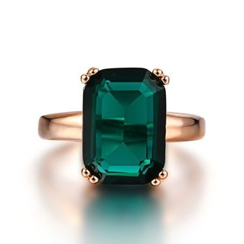 Natural Emerald Ring Zircon Diamond Rings For Women Engagement Wedding Rings with Green Gemstone Ring 14K Rose Gold Fine Jewelry 14k gold bague diamant zircon ring for men 2 cubic bizuteria 14k gold jewelry with cushion zirconia gemstone rings for men rings
