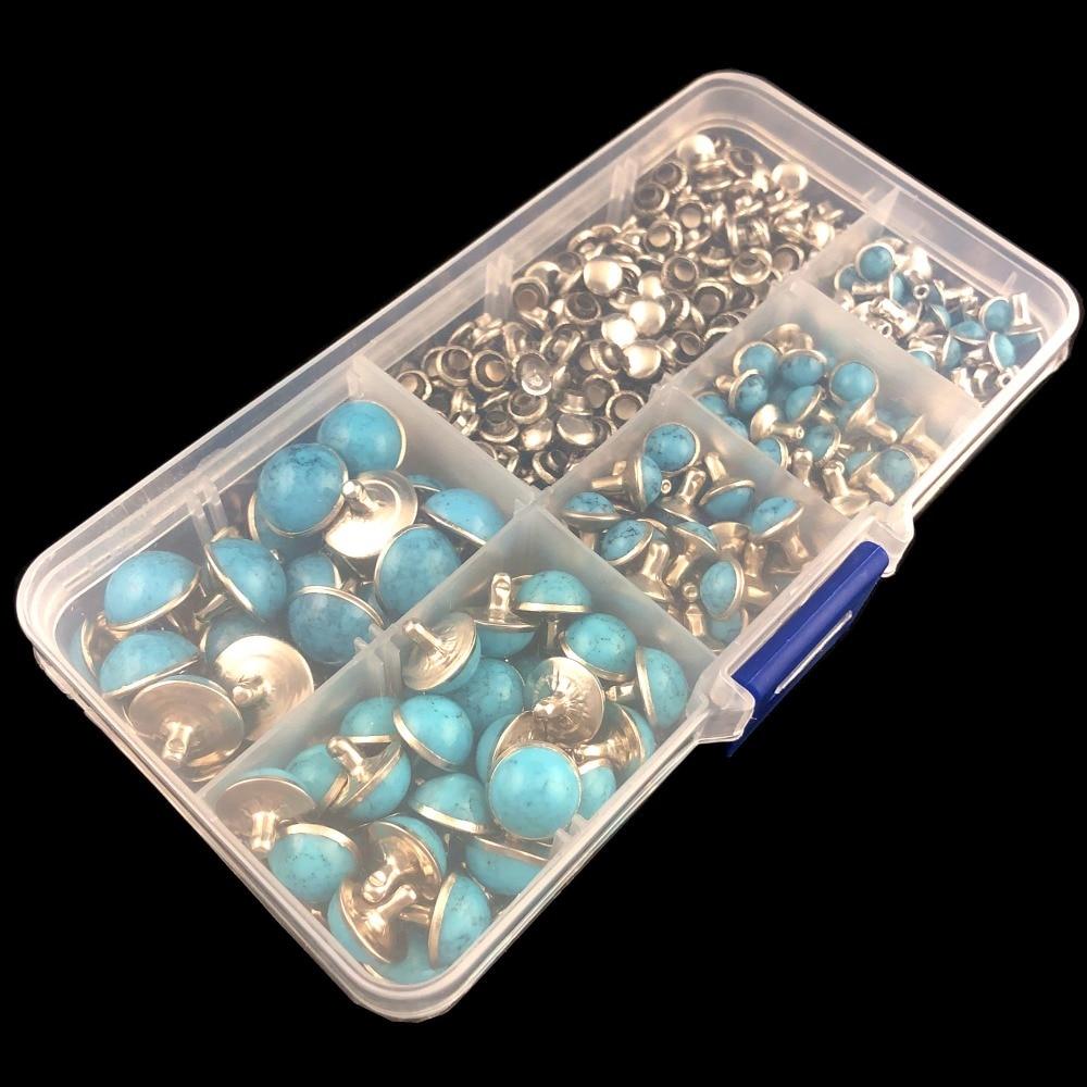 Hot 10mm accessories Blue crack Copper base rivets leather craft punk studs DIY