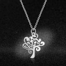 100% Stainless Steel Life Of Tree Charm Necklace Vnistar Simple Design Family Tree Pendant Necklaces Women's Jewelry Necklace(China)