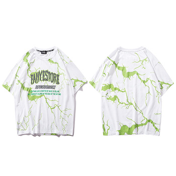 2019 T Shirt Mens Hip Hop Dark Lightning Tshirt Streetwear Summer Cotton Harajuku T-Shirts Short Sleeve Tops Tees Street Wear - A90FY038 White, Asian XXL